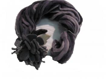 Sciarpa Donna Viola fiore grigio