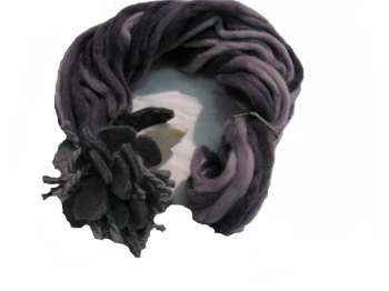 Woman Violet Scarf Grey Flower