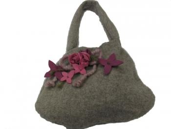 Lady Bag Bordeaux Flowers